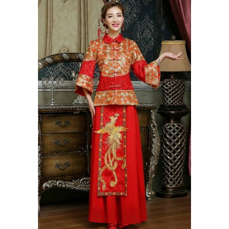 2016 Chinese Style Phoenix Embroidery Cheongsam Wedding Dress