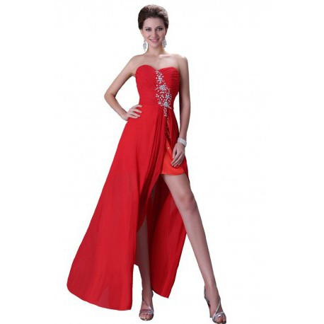 Sweetheart Strapless Chiffon Floor Length Evening Gown (2 Colors)