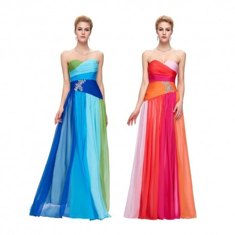 Ombre Embellished Chiffon Strapless Evening Gown (2 Colors)