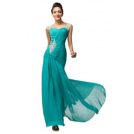 Sweetheart Embellished Chiffon Floor Length Turquoise Evening Gown
