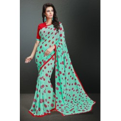 Georgeous Turquoise Color Printed Georgette Saree