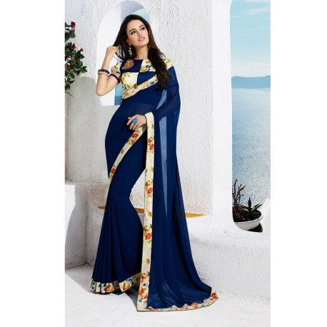 Designer Blue Partywear Georgette Printed Saree With Blouse