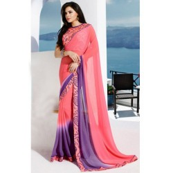 Beautiful Pink and Purple Georgette Printed Saree With Blouse