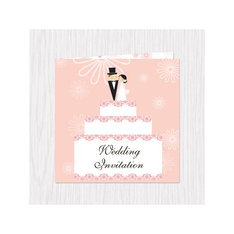 Wedding Cake Design Folded Cards - 100 pcs (3 Colors ...
