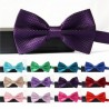 Men's Solid Color Grid Pattern Bow Tie