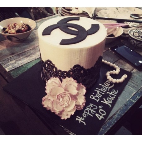 Lovely Channel Theme Cake with Black Sugar Lace