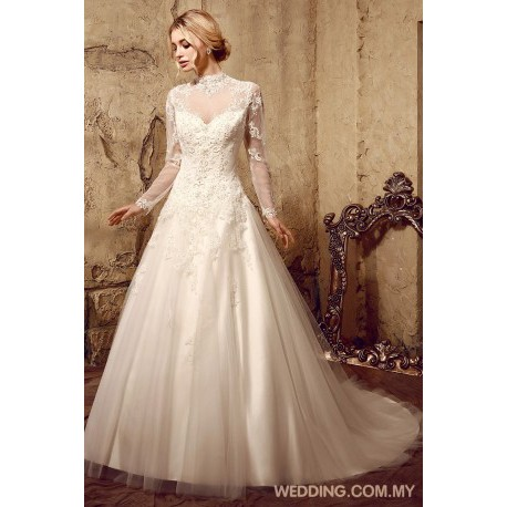 Full Sheer Sleeves Wedding Gown With Beading Appliques On Tulle
