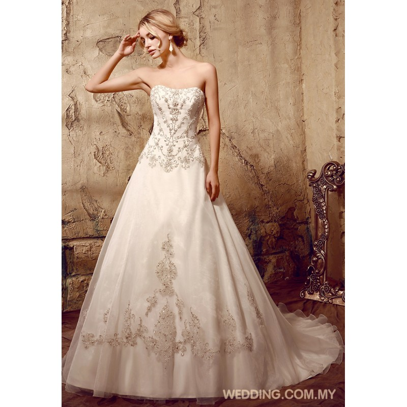 Crystals beading appliques on organza with dropped waist for Wedding dresses with crystals beading