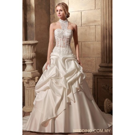 Bubbles Satin Skirt With Illusion Bodice