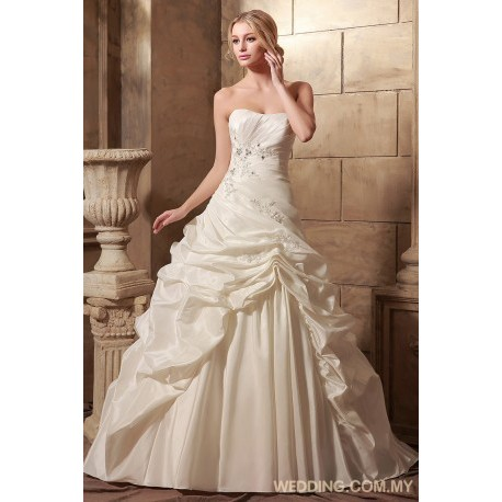 Ball Gown Taffeta Wedding Gown With Pick-Up Skirt