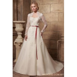 Tulle A-line Wedding Dress With Jacket And Red Belt