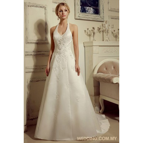 Vintage Halter Beaded Satin Wedding Dress