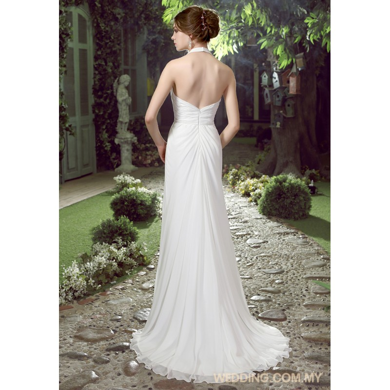 Wedding Gowns With Ruffles: Halter Ruched Chiffon Wedding Dress With Ruffles