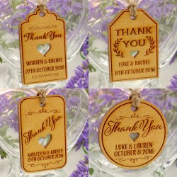 Personalized Gold Wooden Engraved Wedding Favor Gift Tags with Twine