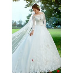 2017 New Spring & Summer Korean Style Lace Long-sleeve Wedding Dress