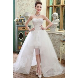 2017 New Spring & Summer Korean Style Short Long Wedding Dress