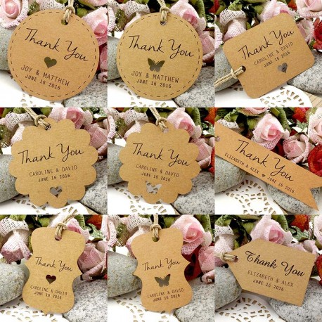 Personalized Brown Kraft Wedding Favor Thank You Gift Tags
