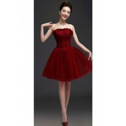 2017 New Wine Red Corset Bridesmaid Dress