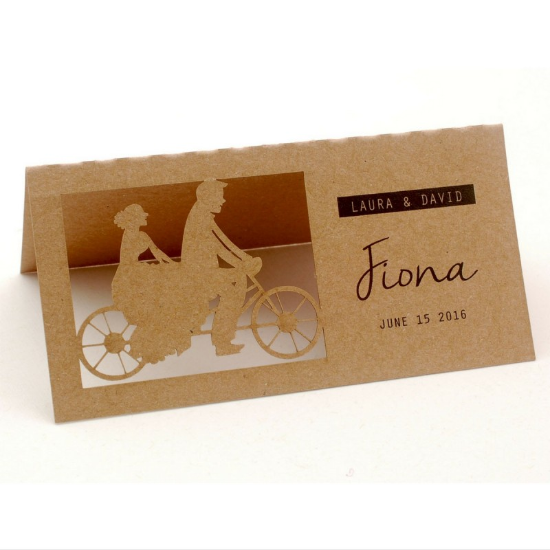 Personalized laser cut natural brown kraft wedding place for Personalized wedding place cards