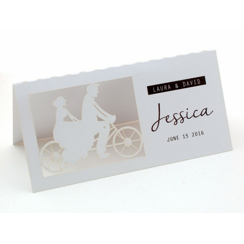 Personalized laser cut white wedding place cards our for Personalized wedding place cards