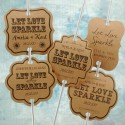 Personalized Let Love Sparkle Kraft Wedding Sparkler Tags (Set B - 4 Designs)