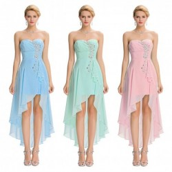 Pastel Strapless Duo-Length Chiffon Bridesmaid / Evening Dress (3 Colors)