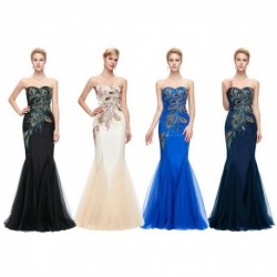 Peacock Embroidered Sweetheart Mermaid Evening Dress (4 Colors)