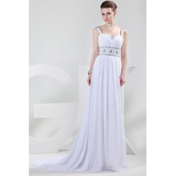 Embellished Sweetheart Neckline Floor Length White Evening Dress
