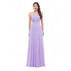 Embellished Backless Chiffon Lilac Evening Dress