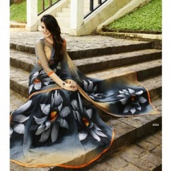 Floral Design Georgette Silk Saree - Grey