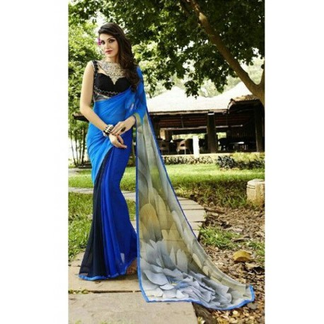 Lotus Design Print Georgette Silk Saree - Blue & White