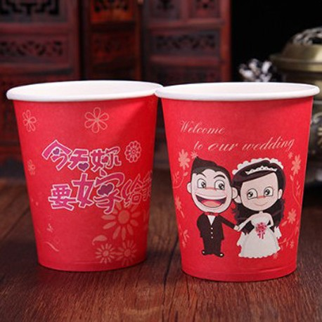 Chinese Traditional Wedding Red Paper Cups (50cups/packet)