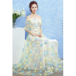 2017 New Spring & Summer Off Shoulder Flower Petals Evening Dress