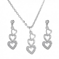 Sweet Rhinestone Embellished Heart Shaped Necklace and Earrings