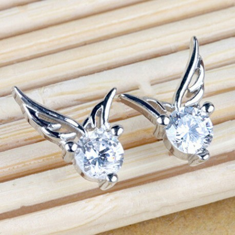 Pair of Gorgeous Rhinestone Angel Wings Hollow Out Earrings