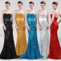 Glamour Sweetheart Sequined Floor Length Evening Gown (2 Colors)