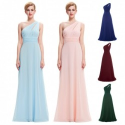 Chiffon One Shoulder Floor Length Bridesmaid Dress (5 Colors)