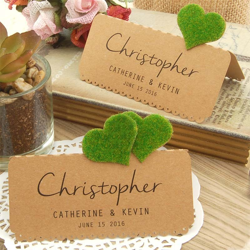 Diy personalized kraft love in the garden wedding place for Personalized wedding place cards