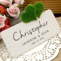 DIY Personalized Love in the Garden White Wedding Place Cards (Double Hearts)