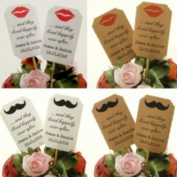 DIY Personalized Lips & Mustache Kraft / White Cupcake Toppers (Happily Ever After)