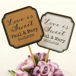 "DIY Personalized Double Sided Kraft / White Wedding Cupcake Toppers ""Love is Sweet"""