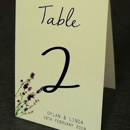 Personalized Cream Lavender Garden Table Number (No. 1-20)