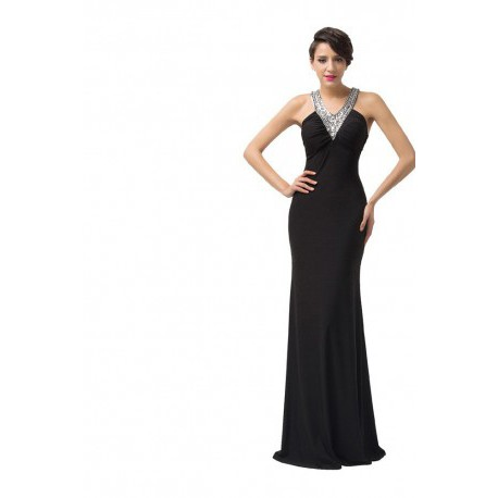 Sensual Sequined V-Neck Floor Length Black Evening Gown