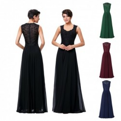 Vintage Lace & Chiffon Floor Length Evening Dress (4 Colors)
