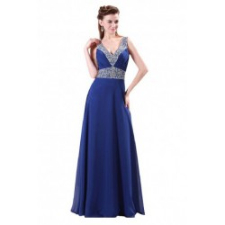 Elegant Embellished V-Neck Chiffon Blue Evening Gown