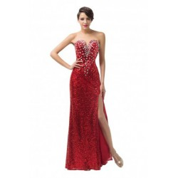 Elegant Sequined V-Neck Floor Length Red Evening Gown