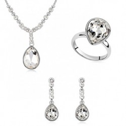 Shimmering Solitaire Crystal Bridal Jewelry Set