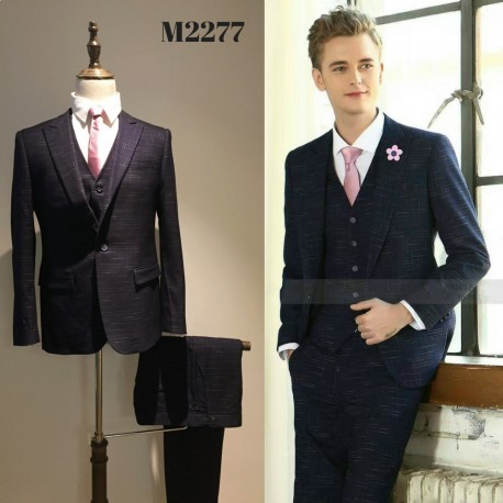 Korean Style Groom's Navy Blue 5-Piece Suit