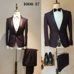 Groom's Slim Cut Dark Purple 2-Piece Suit