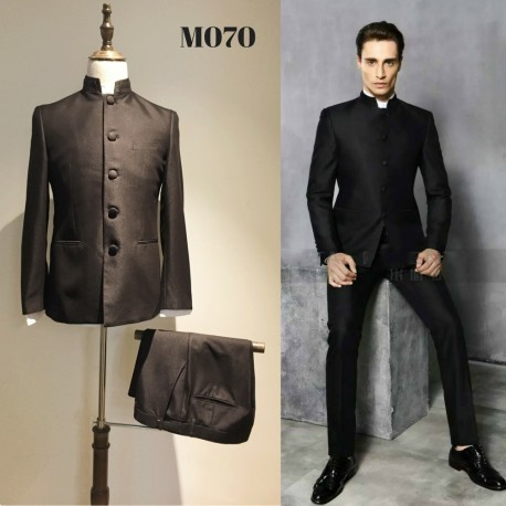 Korean Style Groom's Black Chinese Style 4-Piece Suit